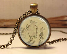 Winnie the Pooh necklace. Winnie the Pooh Book art pendant.classic pooh jewelry