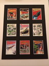 "THUNDERBIRDS RETRO ANNUAL COVERS PICTURE MOUNTED 14"" By 11"" READY TO FRAME"