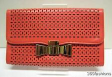 STATEMENT OVERSIZED FLAP BOW LASER CUT VINTAGE STYLE CLUTCH BAG SALMON PINK