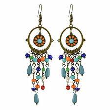 UK BOHO FLORAL BEAD TASSEL FRINGE EARRINGS Festival Fashion Jewellery Gypsy