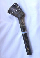 Antique Egyptian Carved Horn Pharaoh's Head Camel Whip Handle w/ Silver Inlay