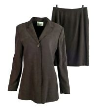 Le Suit Womens Skirt Suit 12 Brown 2 Pc Polka Dot Faux Suede Blazer Business