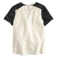 J.Crew Womens Tweed Sleeve Cotton Jersey Tee Top Cream Black Metallic Size L