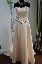 Wedding Dress Champagne/Black 'Margaret Lee' Satin Size 12 NEW ORIGINALLY £599