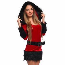 Sexy Lady Women Christmas Xmas Red Fur Santa Claus Hooded Costume Fancy Dress