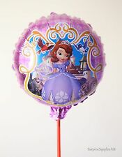 """6X SOFIA THE FIRST round foil handheld balloons 8.5"""" (21cm) with stick AU Seller"""