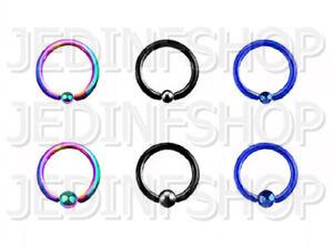 BCR Hoop Captive Bead Ring CBR | 2.4mm (10g) - 12mm | Titanium Anodised