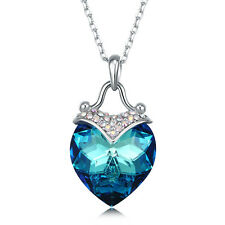 White Gold Plated Crystal Heart Pendant Necklace Made with Swarovski Elements