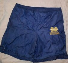 Classic University of Michigan 100% vinyl shorts large navy blue lined athletic
