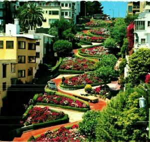Most Crooked Street in the World Lombard Street San Francisco Vintage Postcard
