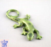9942143 Wagner & Apel Porzellan Figur Eidechse grün L17cm