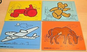 KIDDICRAFT Vintage WOODEN JIGSAW Puzzles x4 OLD