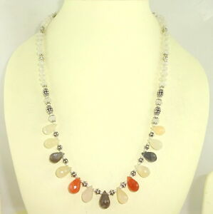 Necklace natural multi moonstone gemstone faceted beaded handmade jewelry