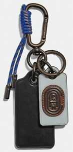 COACH 'Leather Patch Carabiner Key Fob / Chain / Ring' Men's Silver/Black *NWT*