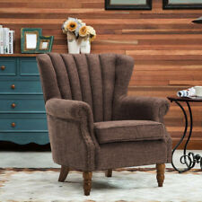 Brown Comfy Linen Fabric Wingback Upholstered Chair Arm Chair Bedroom Cafe Lobby