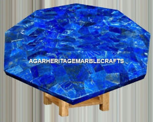 Marble Center Coffee Table Top Lapis Lazuli Gem Mosaic Inlay Patio Decor H2029