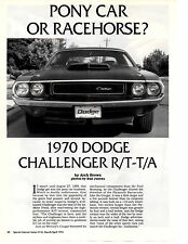 1970 DODGE CHALLENGER R/T - T/A 340-6   ~  NICE 8-PAGE MUSCLE CAR ARTICLE / AD