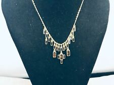 Vtg. Napier Black Lucite Faux Tortoise Gold Tone Draped Necklace