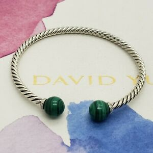David Yurman Sterling Silver Diamonds & Malachite Solari 3.5mm Bangle Bracelet