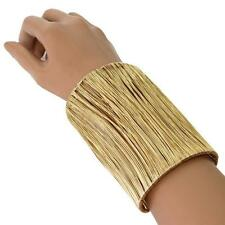 "7.50"" long gold wire bracelet bangle cuff basketball wives 4"" wide"