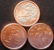 Collection of (3) 1oz Freedom Girl Silver Shield  .999 Copper Coins