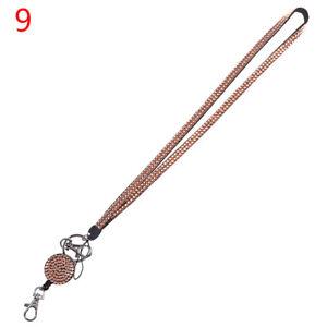 Neck Lanyard Retractable Badge Reel Crystal Rhinestone Phone Key Hang Rope ~ HL