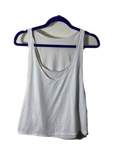 Lululemon Lean In Crop Tank Top White Layered Mesh Relaxed Fit Size 8? Medium
