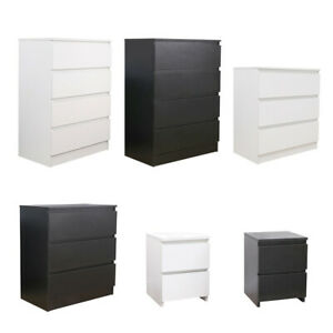 Modern Chest of Drawers Bedside Table Cabinet Nightstand 2/3/4 Drawers Bedroom