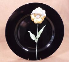 "Midnight Poppy Fine China Dinner Plate 10 3/8"" Yellow Flower Fitz& Floyd Retired"