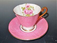 Roslyn Bone China Pink Raspberry Rose Cup and Saucer Circa 1950