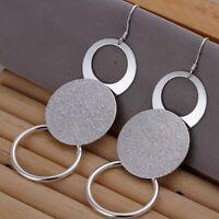 Damen Ohrhänger mit großen Ringen Ohrringe 925 Sterling Silber plattiert