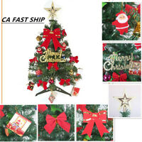 Tabletop 60CM 2FT Aritificial Christmas Tree DIY Decorated Home Ornament W/Light