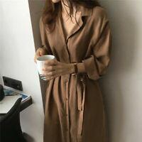 Women Long Sleeve Button Down Long Midi Loose Shirt Dress Jacket Trench Coat