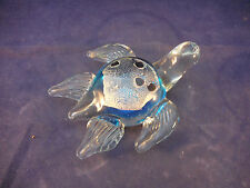 """5 1/4"""" art glass paperweight turtle shades of blue"""