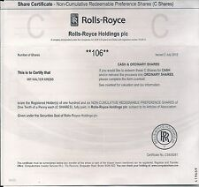 Rolls Royce Holdings Group Stock Certificate dated 2011-2016