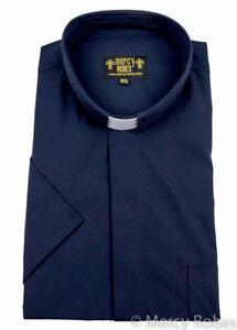 Men's Navy Blue Clergy Shirt, Short Sleeve, Tab Collar, Minister, Pastor, Priest