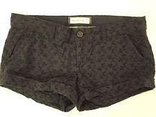 Abercrombie & Fitch wmns sz 00 navy blue eyelet lace mini short shorts  EUC