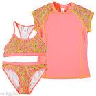 GIRLS Rash Vest & bikinis swimwear set Bananas pink yellow bathers top NEW UPF50