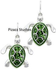 Sea Turtle Dangle Earrings Green Glitter Sea Life Silver Tone Beach Jewelry 18-4