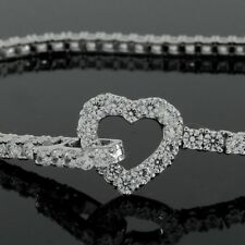 "Awesome 3.90ct D/VVS1 Round Simu Diamond 7-1/4"" Tennis Bracelet with Heart Clasp"
