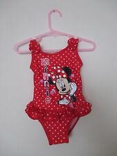 Pretty Girls Disney Minnie Mouse Swimmming Costume. Age 9-12 Months. Red & White