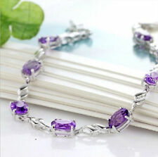 Lady Solid Sterling Silver AAA Amethyst Bracelet Jewelry Christmas Gift B