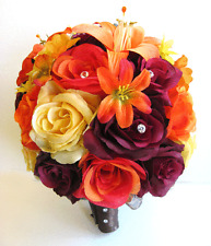 Wedding Bridal Bouquets Silk Flowers BURGUNDY YELLOW ORANGE LILY 17 pc package