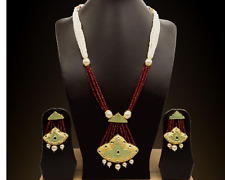 Indian Bridal Party Wear Fashion Jewelry Necklace Earring Kundan Red Beaded Set