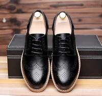 Vintage Men's Wing Tip Carved Brogue Lace Up Dress Casual Business Formal Shoes