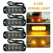 Amber 4 LED Car Truck Emergency Beacon Warning Hazard Flash Strobe Light Bar CT