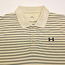 Under Armour 𝕄en's Polo Beige Striped Shirt Size Large