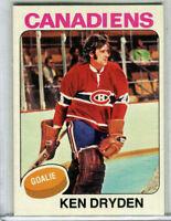 1975 Topps #35 Ken Dryden (HOF-Canadiens) -Excellent Condition!