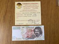 BANCONOTA LIRE 100000 CARAVAGGIO II TIPO A 1994 certificata qFDS