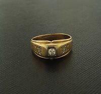 .15ct H VS Euro Cut Diamond Ring 14K Yellow Gold Antique